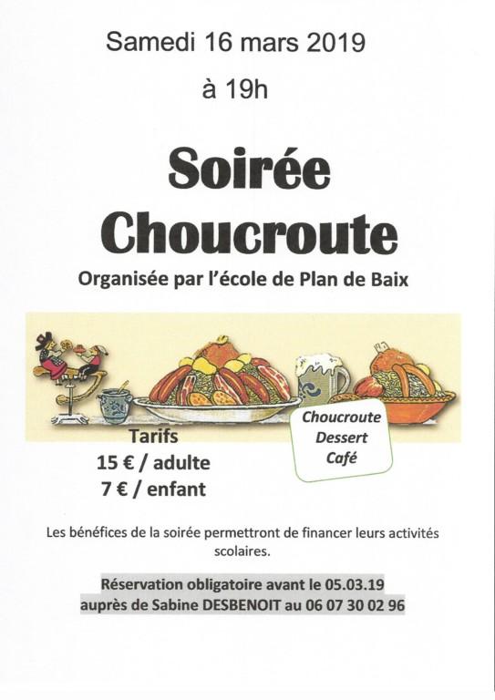 Plan de Baix : soirée choucroute école de Plan de Baix - Salle des fêtes d'Omblèze @ Salle des Fêtes Les Arbods | Omblèze | Auvergne-Rhône-Alpes | France