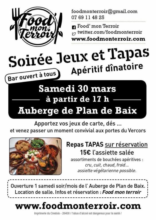 Plan de Baix Repas Tapas le 30 mars 2019 @ Salle Associative | Plan-de-Baix | Auvergne-Rhône-Alpes | France